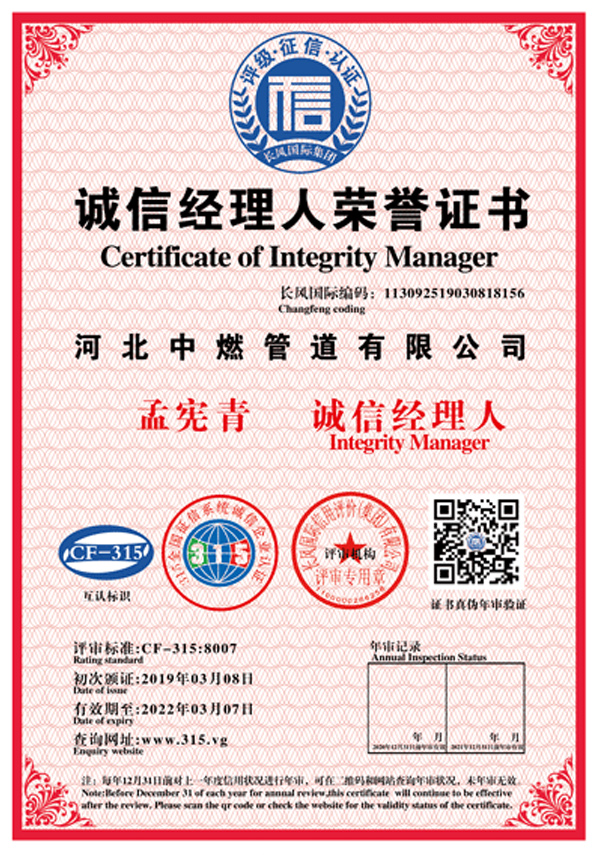 Honorary Certificate of Honest Manager